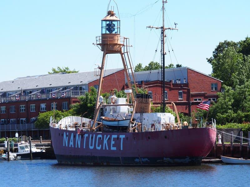 灯塔船南塔克特II WLV 613, MA 免版税库存图片