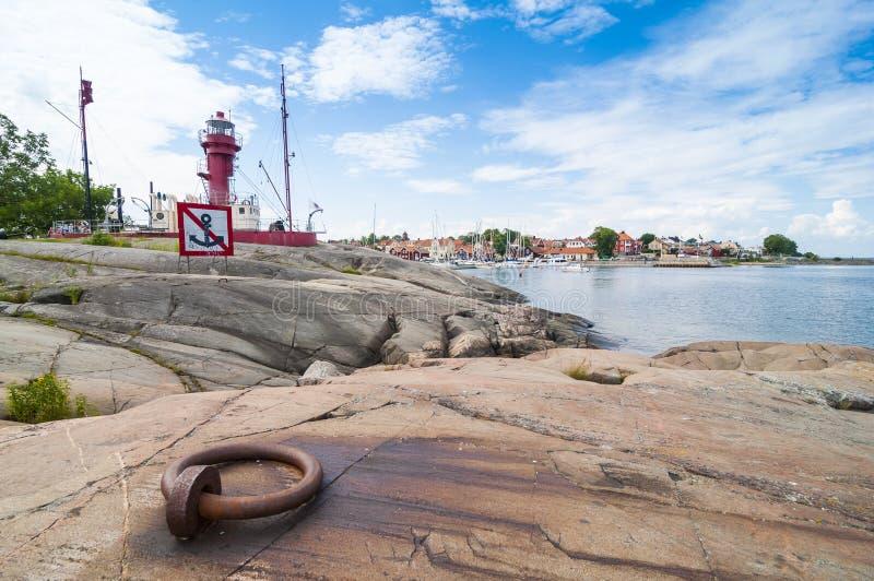 灯塔船峭壁Oregrund 图库摄影