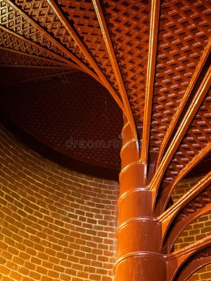 灯塔螺旋形楼梯内部看法  免版税库存图片