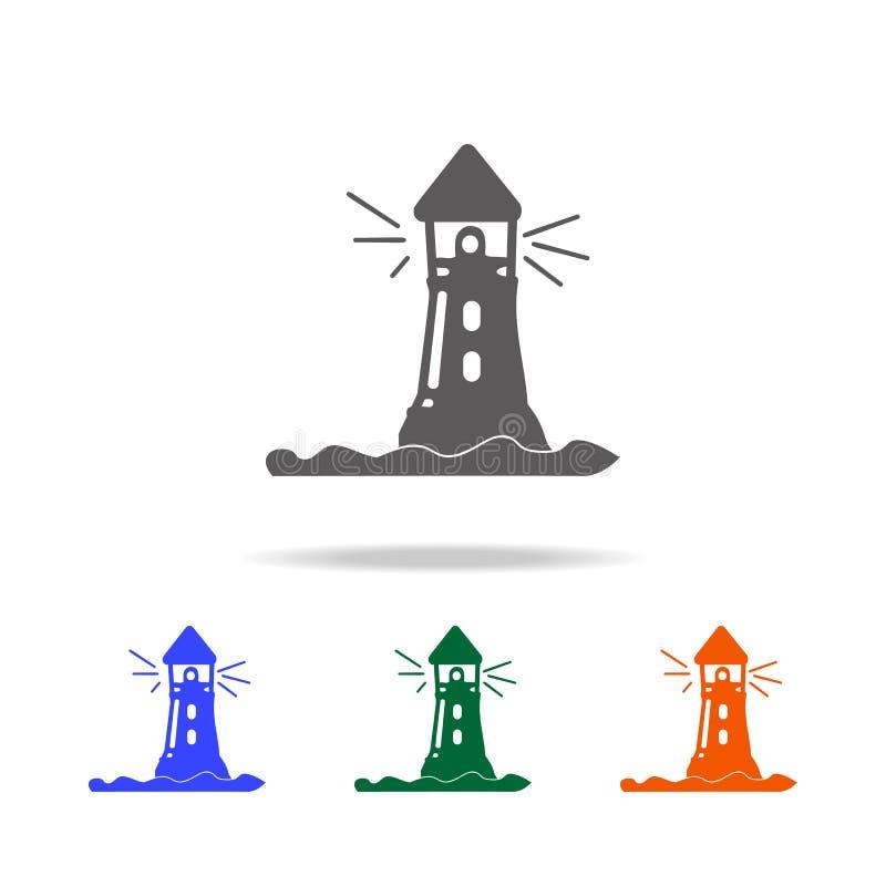 灯塔象 海滩假日多色的象的元素流动概念和网apps的 网站设计的稀薄的线象 库存例证