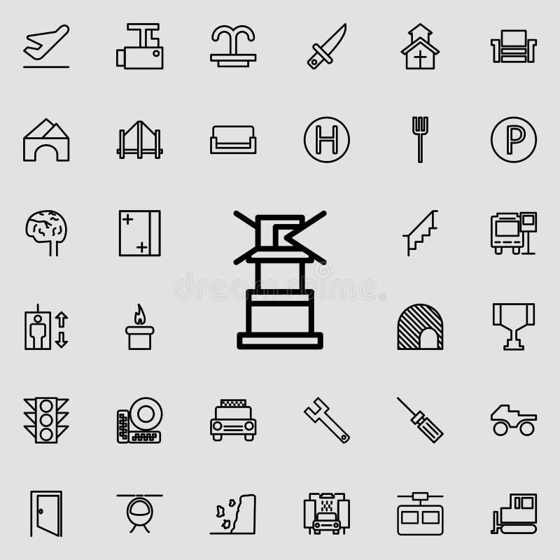 灯塔象 详细的套minimalistic线象 优质图形设计 其中一个网站的汇集象,网de 皇族释放例证