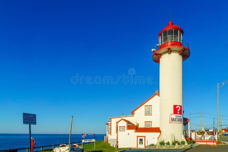 灯塔,在Matane,加斯佩半岛 免版税图库摄影
