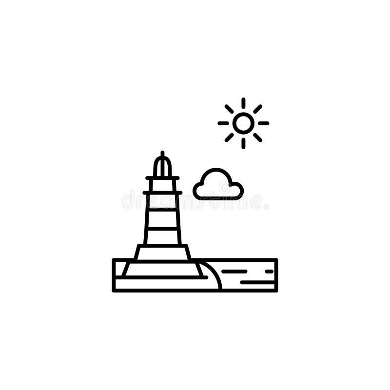 灯塔,晴朗,云彩概述象 风景例证的元素 标志和标志概述象可以为网使用, 向量例证