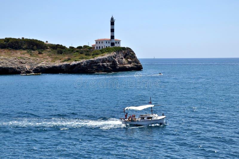 灯塔-波尔图克罗姆马略卡巴利阿里群岛西班牙 库存图片