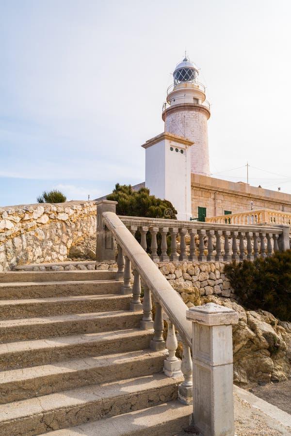 灯塔-盖帽Formentor,马略卡 库存图片