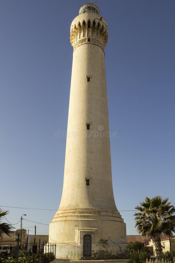 灯塔El Aank有天空背景 卡萨布兰卡 库存照片