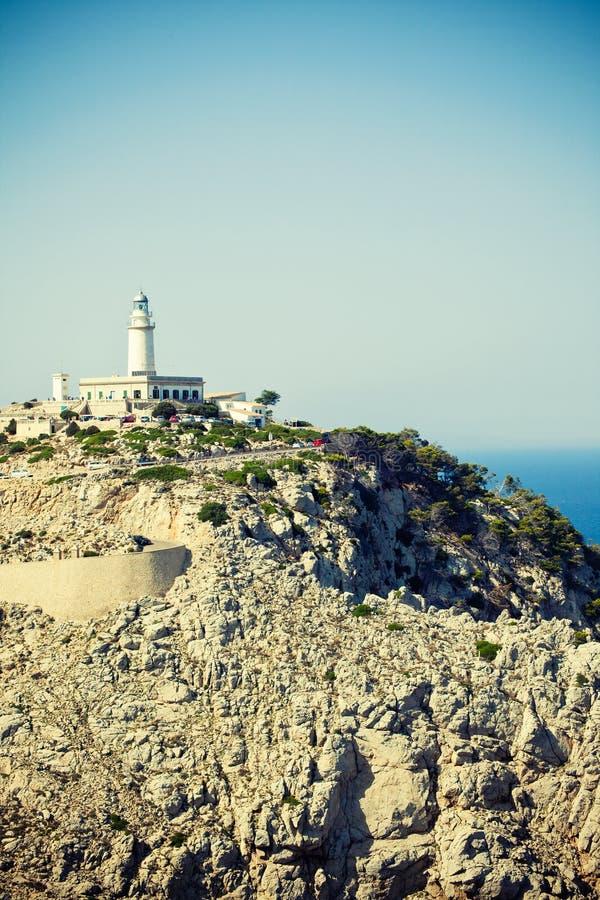灯塔Formentor在马略卡,西班牙 免版税库存照片