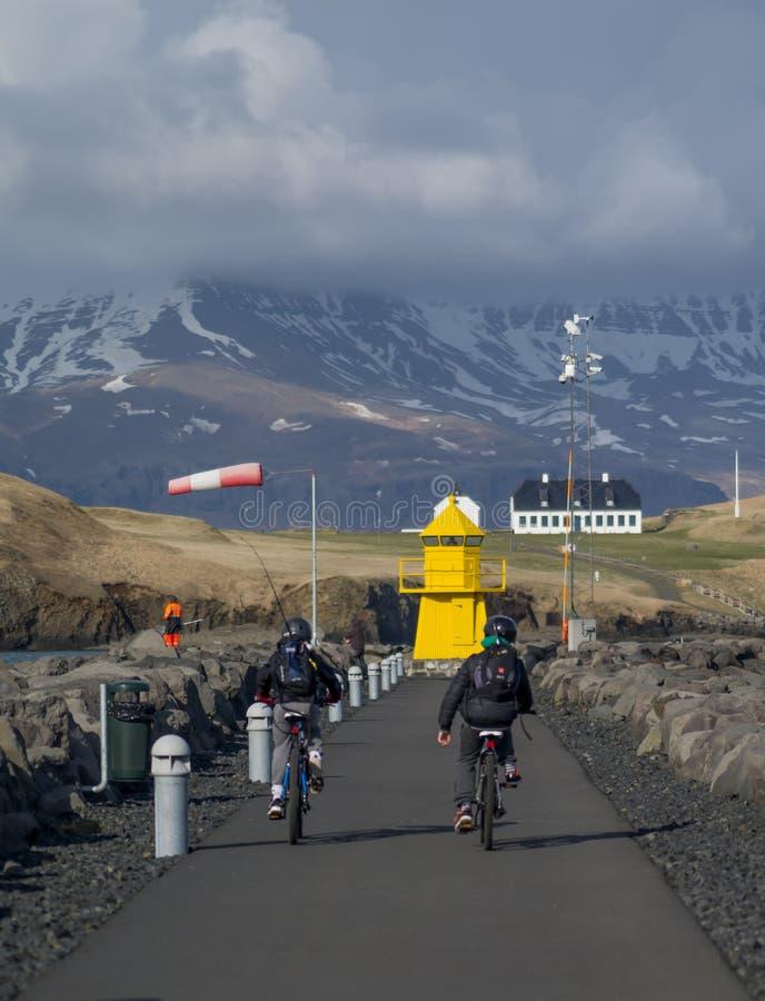 灯塔Seltjarnarnes港口冰岛 库存图片