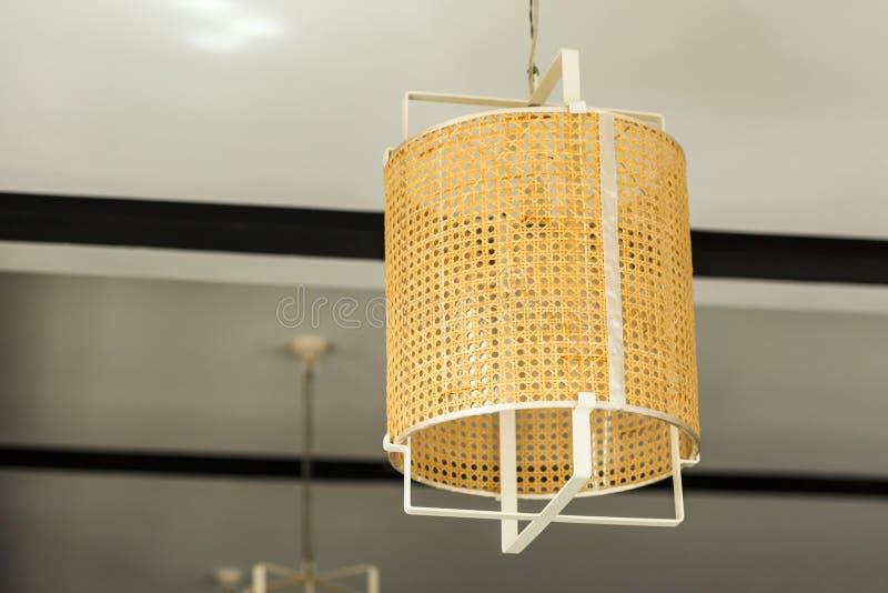 灯天花板由竹子制成 免版税库存照片