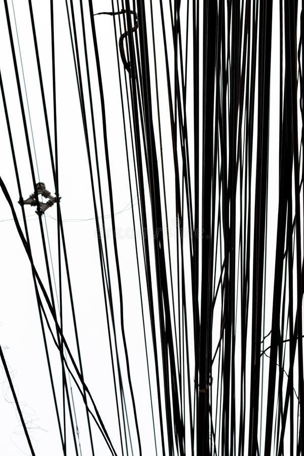 灯岗位和导线对创造性设计和装饰孤立的 免版税图库摄影
