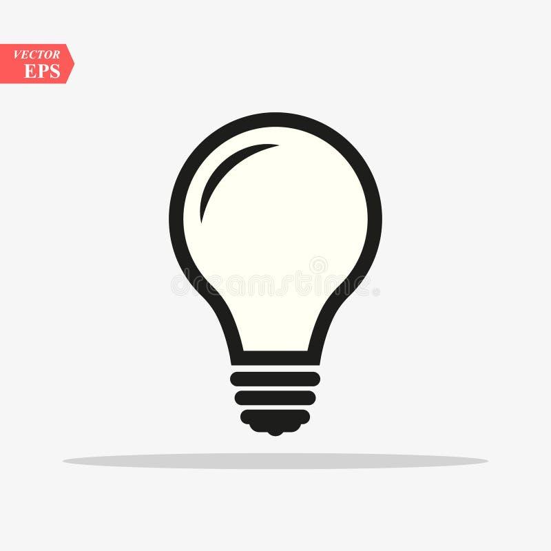 灯泡线图标矢量,在白色背景上隔离 思想符号、解决方案、思维概念 照明电灯 向量例证