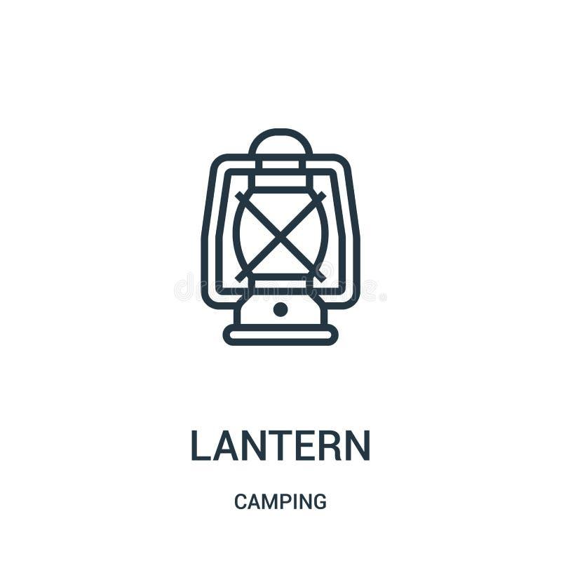 灯笼从野营的收藏的象传染媒介 稀薄的线灯笼概述象传染媒介例证 线性标志 向量例证