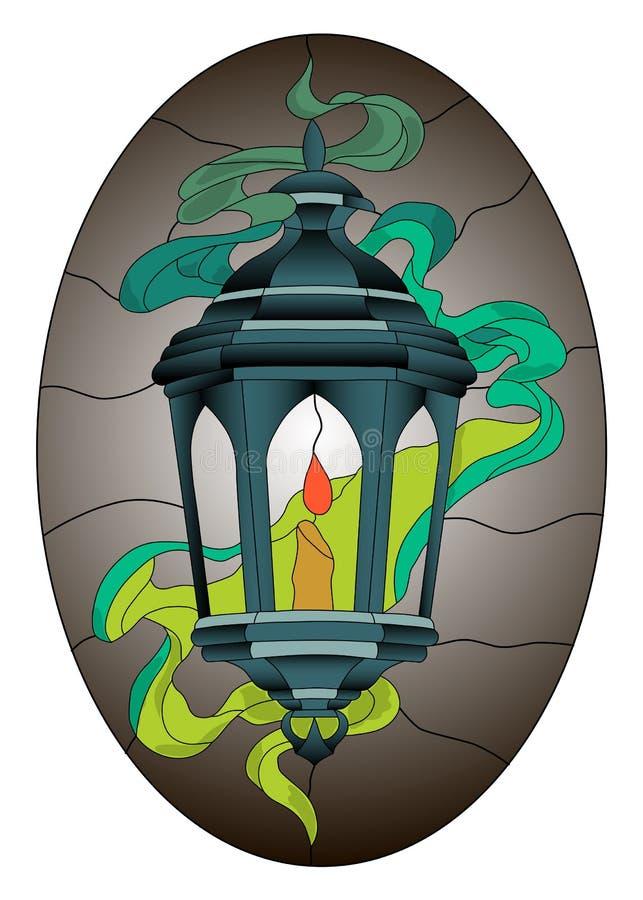 灯笼彩色玻璃与烟和黑暗的卵形背景的马赛克样式 向量例证