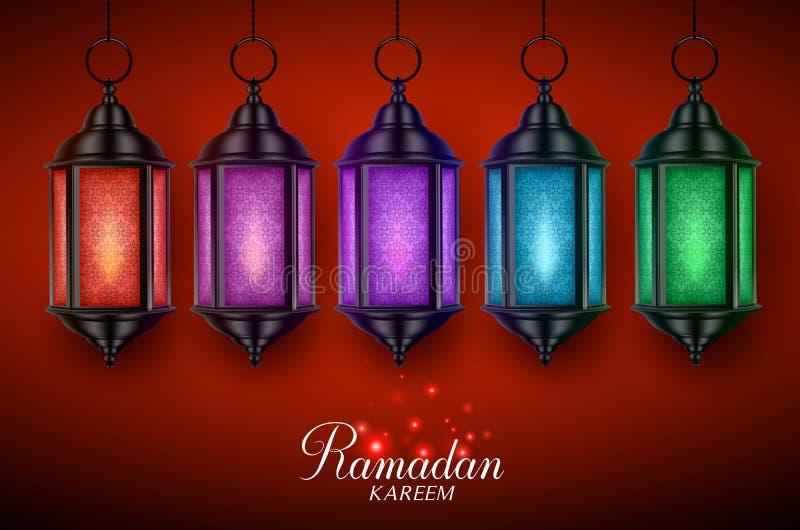 灯笼灯或fanous传染媒介设置了与垂悬为赖买丹月的五颜六色的光 皇族释放例证