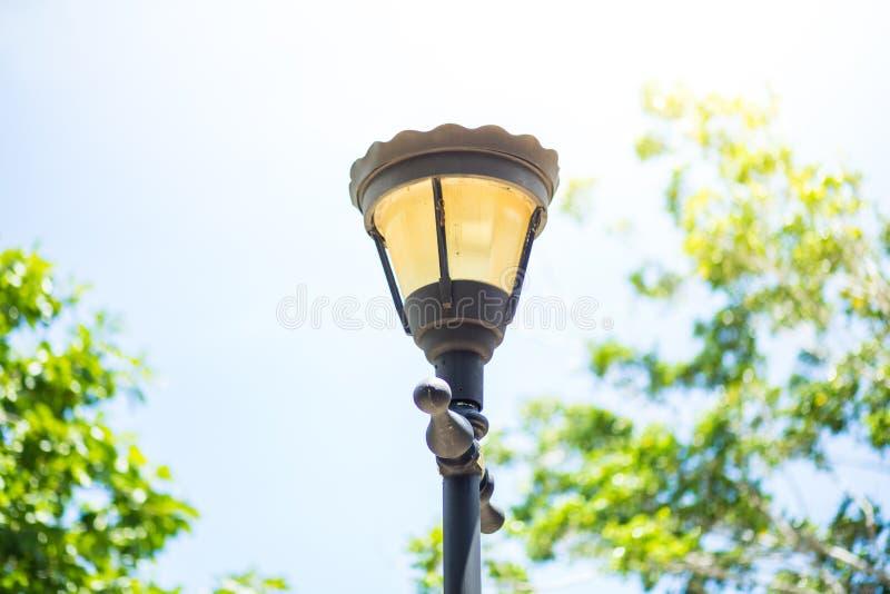 灯笼照明设备在公园 免版税库存图片