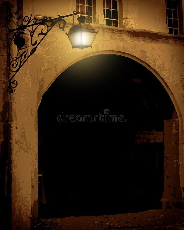 灯笼老街道 向量例证
