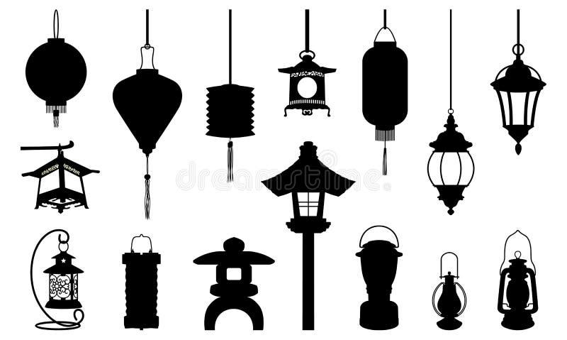 灯笼象例证剪影-阿拉伯中国日语和现代 向量例证