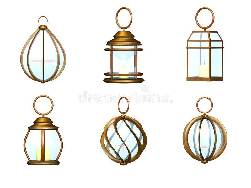 灯笼金属集合 皇族释放例证