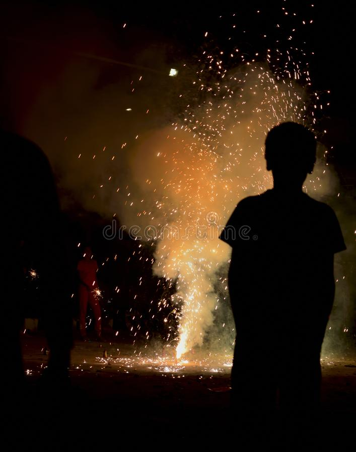 灯节在印度-屠妖节烟花的 免版税图库摄影
