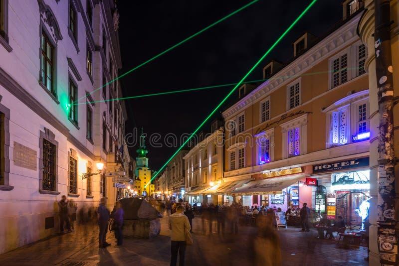 灯节在布拉索夫,斯洛伐克2016年 库存照片