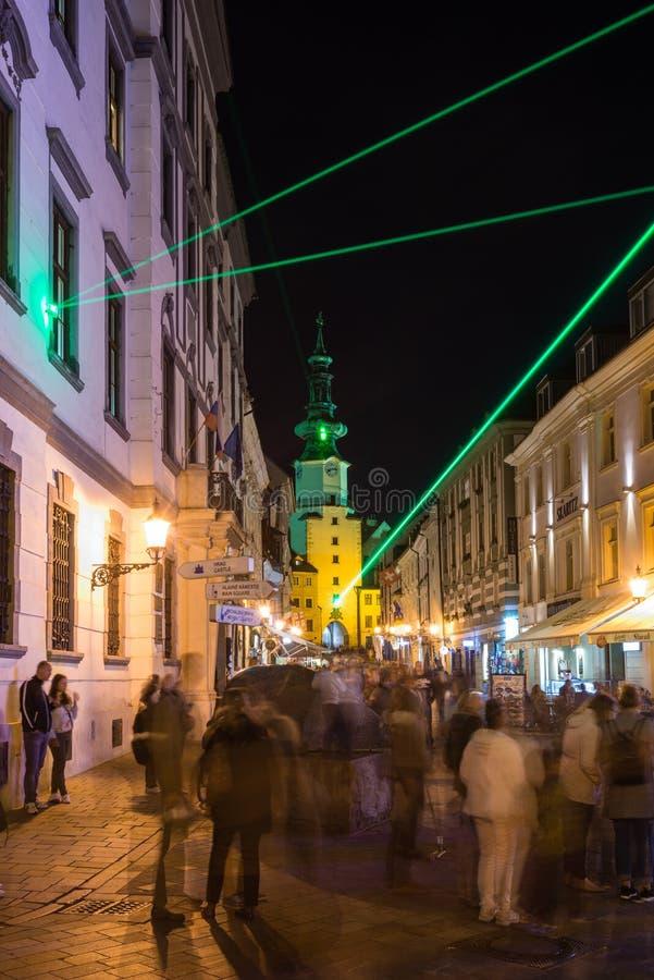 灯节在布拉索夫,斯洛伐克2016年 免版税库存照片