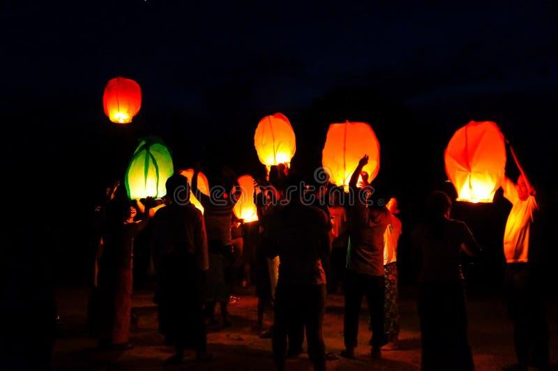 灯节在缅甸的 库存图片
