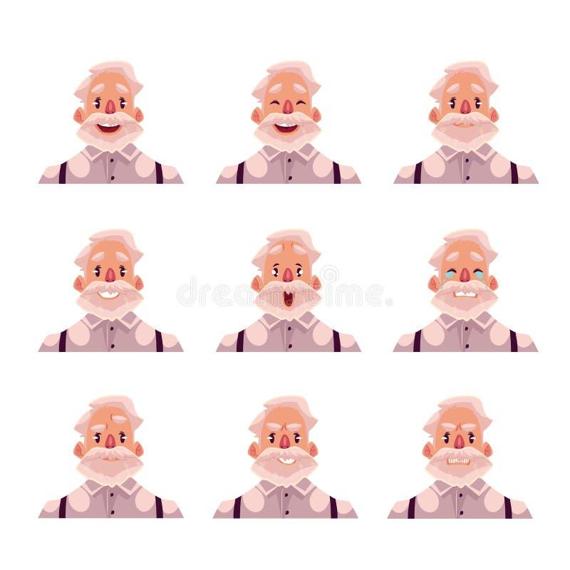 灰发的老人面孔表示具体化 皇族释放例证