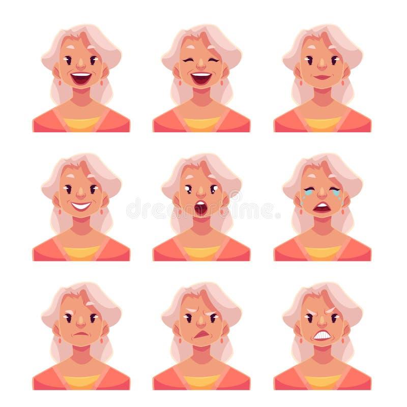 灰发的老妇人面孔表示具体化 向量例证