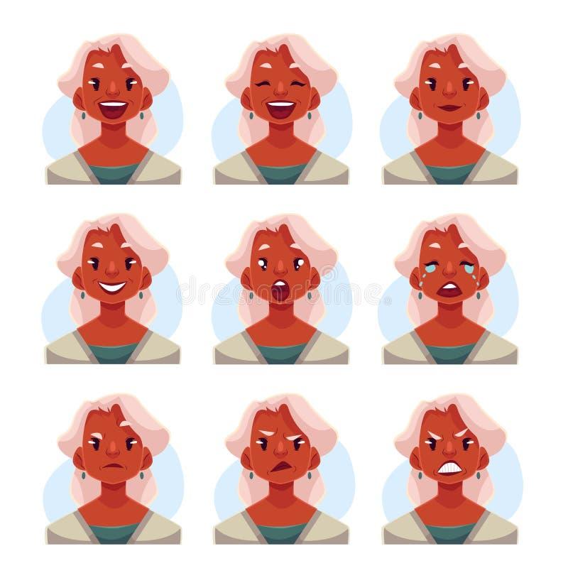 灰发的老妇人面孔表示具体化 库存例证