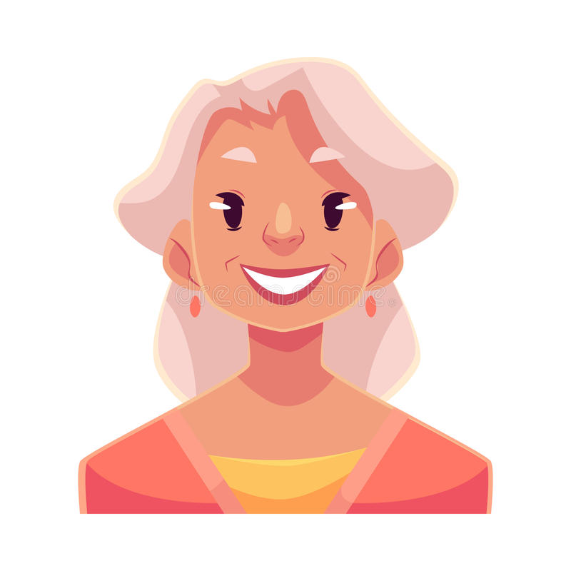 灰发的老妇人,微笑的表情 库存例证