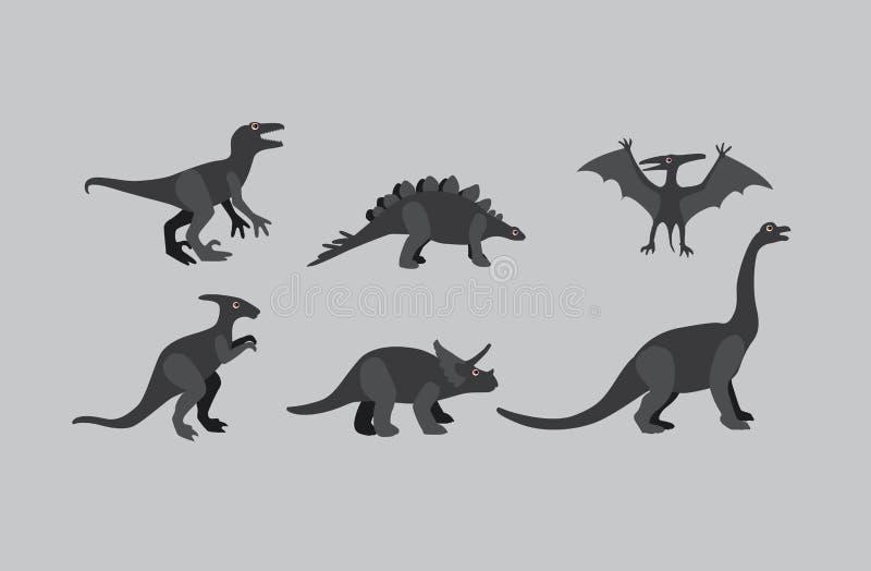 灰度的恐龙的传染媒介汇集 向量例证