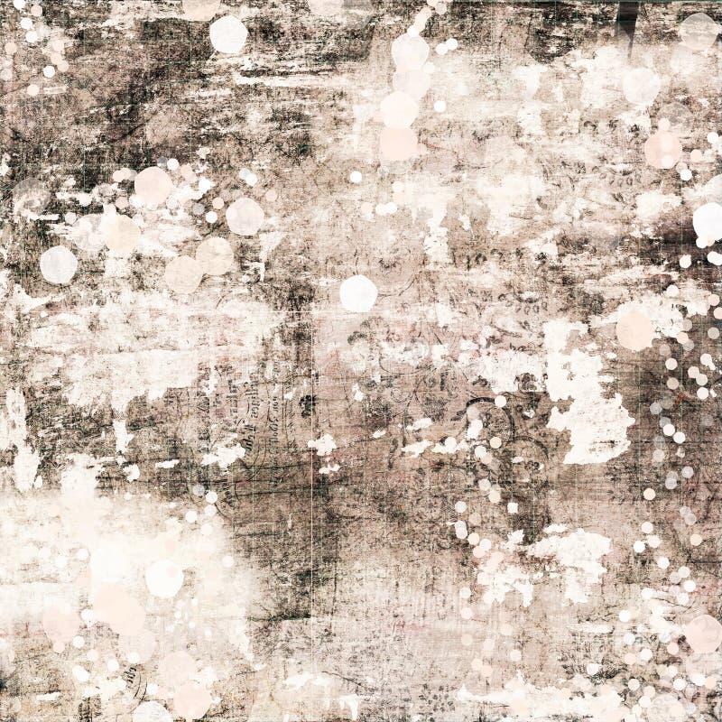 灰棕色和布朗古色古香的破旧的别致的脏的摘要绘了背景困厄的纹理 免版税库存照片