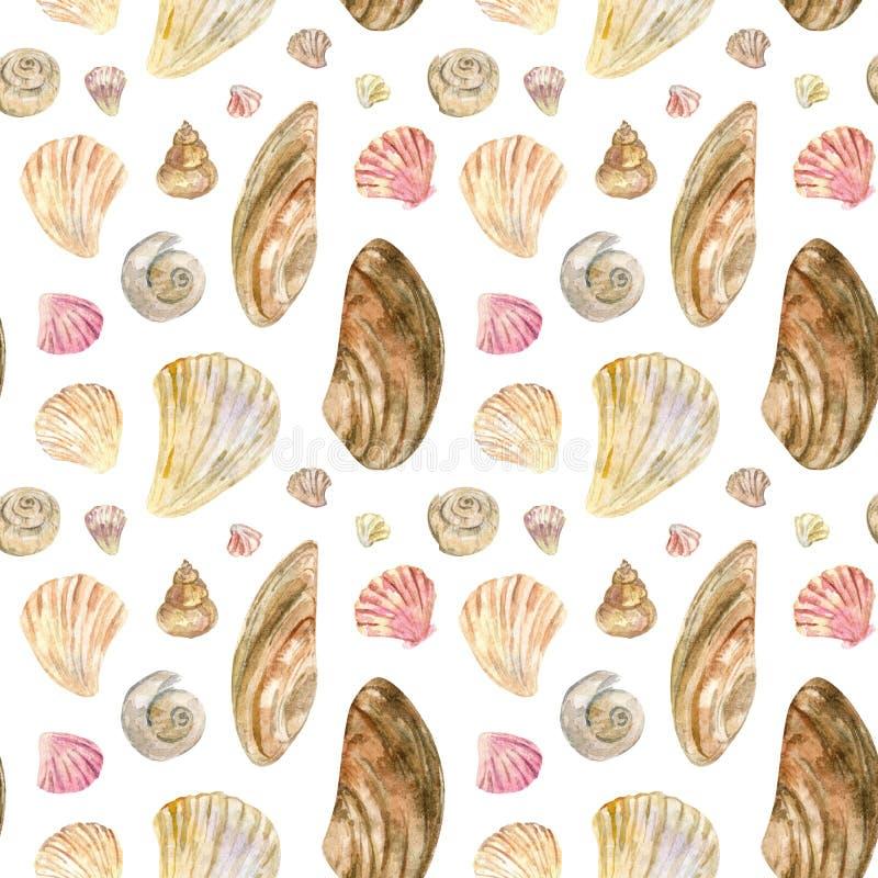 灰棕色和桃红色水彩无缝的壳样式 库存例证