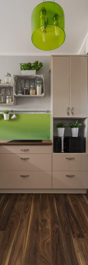 灰棕色和绿色的厨房 图库摄影
