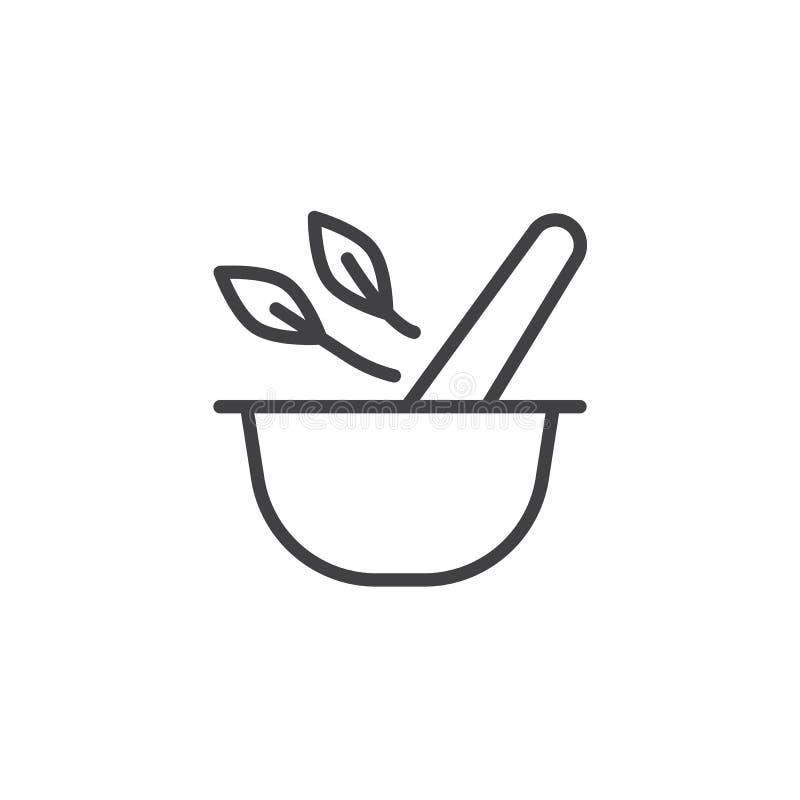 灰浆和杵有草本叶子的概述象 库存例证