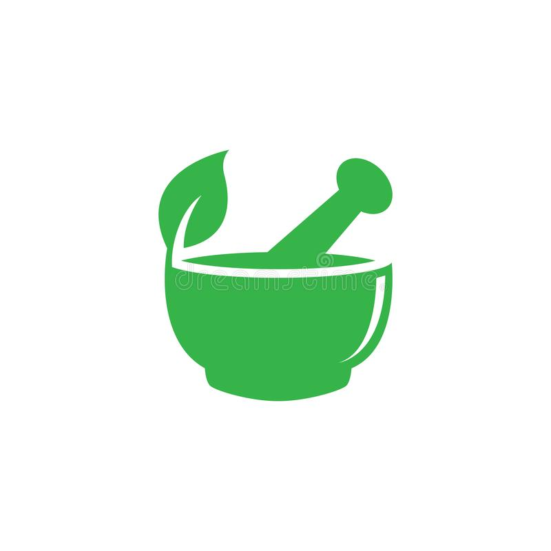 灰浆和杵药房自然草本健康商标设计传染媒介模板 皇族释放例证