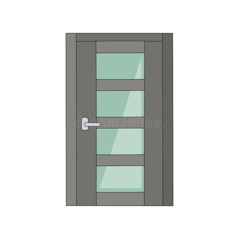 灰色与表面无光泽的玻璃,办公室入口与现代安全神色的门道入口前面的金属门 向量例证