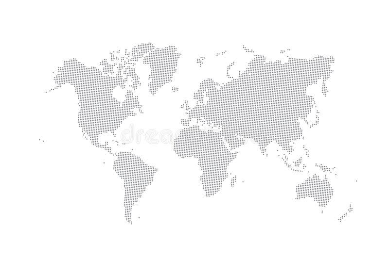 灰色传染媒介被加点的世界地图 向量例证