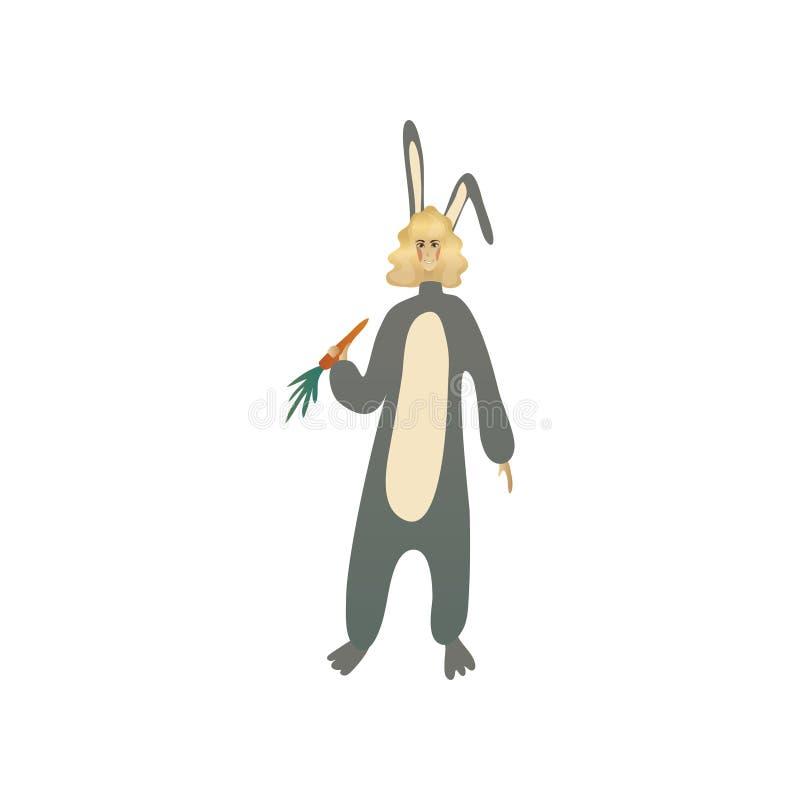 灰色兔宝宝服装的微笑的白肤金发的女孩用红萝卜在手中 衣物的妇女万圣节聚会的 平的传染媒介 库存例证