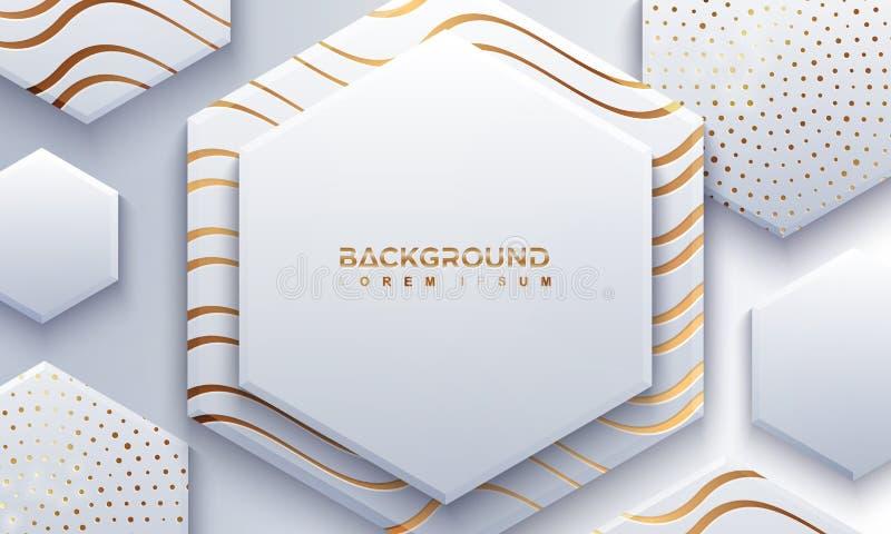 灰色六角形背景构造与3D样式和波浪线 与发光金黄线的抽象papercut背景 库存例证
