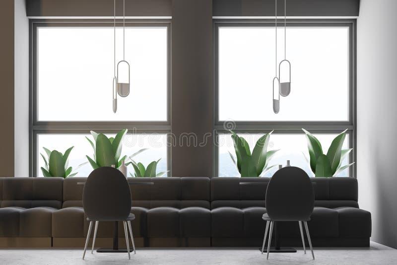 灰色减速火箭的咖啡馆内部、顶楼和植物关闭  皇族释放例证