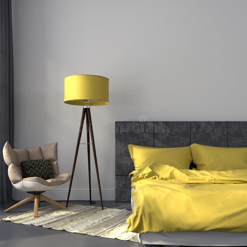 灰色卧室和黄色装饰 免版税库存照片