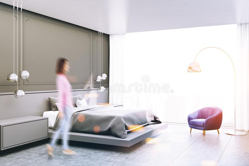 灰色卧室角落,被定调子的灰色床 向量例证