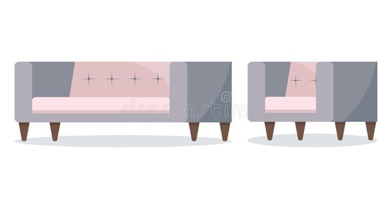 灰色和在白色背景隔绝的粉色软的沙发和扶手椅子象集合 库存例证