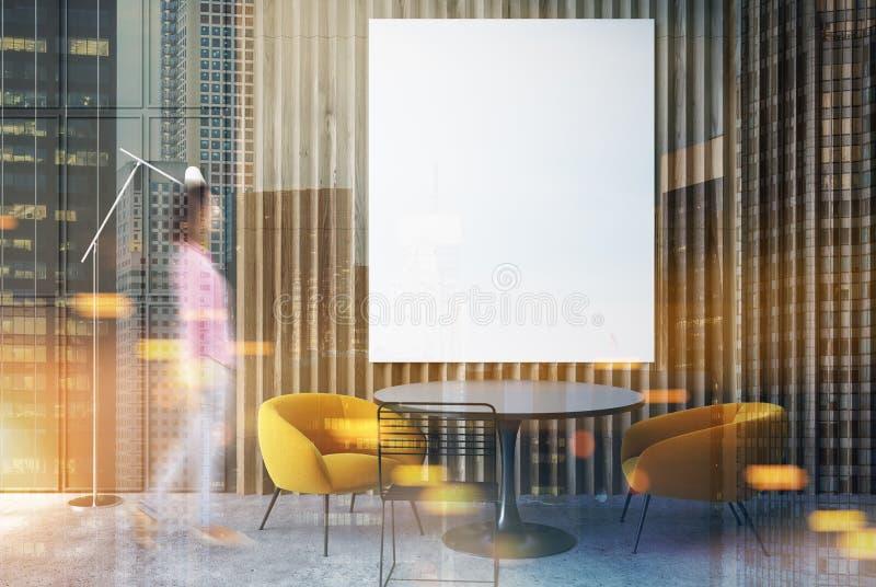 灰色和木客厅,被定调子的海报黄色 皇族释放例证