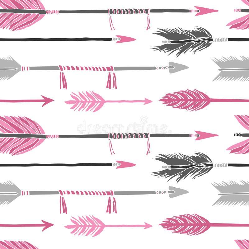 灰色和桃红色箭头无缝的样式 库存例证