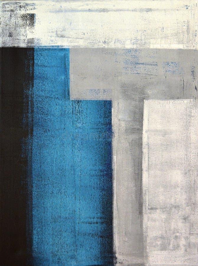 灰色和深青色抽象派绘画 皇族释放例证