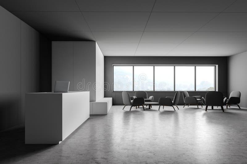 灰色和白色办公室招待会和休息室区域 库存例证