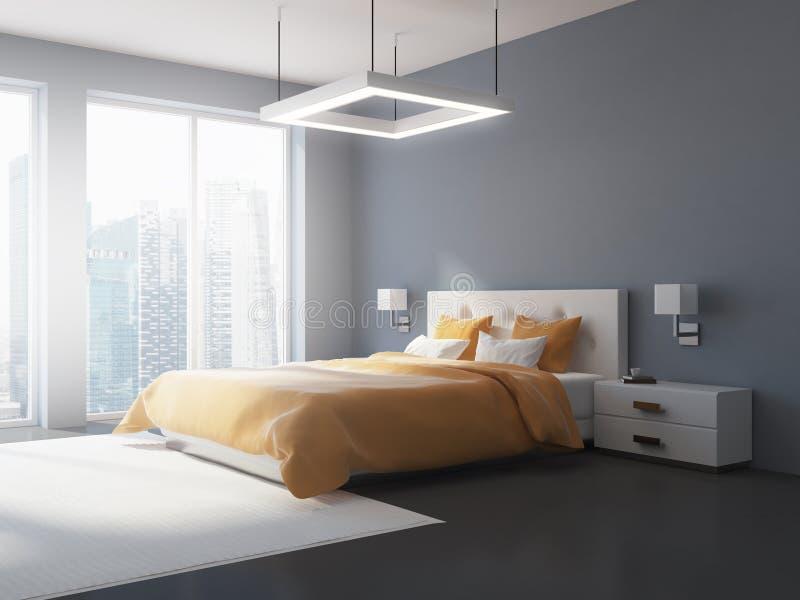 灰色和白色卧室内部侧视图 向量例证