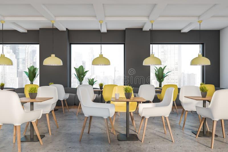 灰色和白色顶楼咖啡馆内部 向量例证